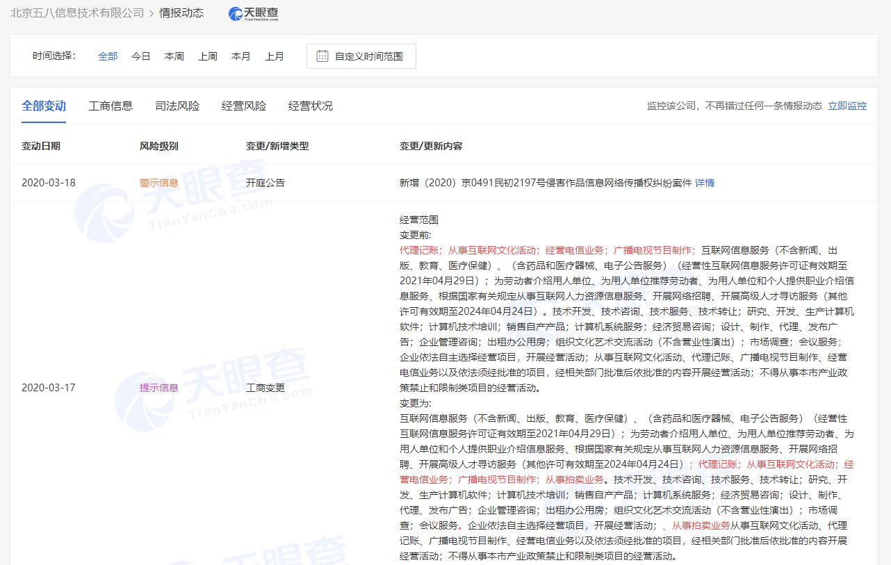 北京五八信息技术有限公司发生经营范围变更,新增从事拍卖业务