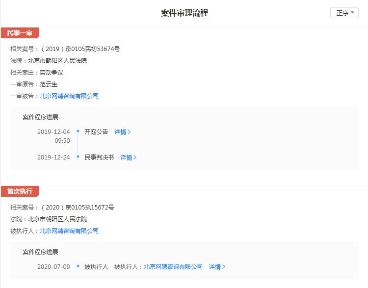 智联招聘经营主体列为被执行人 执行标的16942元