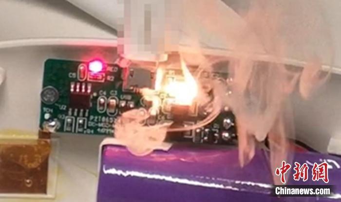 测试中被烧毁的设备。图片来源:腾讯安全