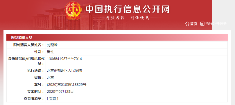 涉知识产权合同纠纷 乐视网董事长刘延锋被限制消费插图