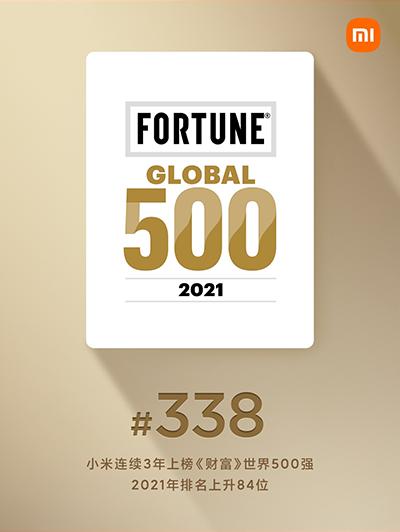 """2021《财富》世界500强公布 小米集团成榜单中""""进步最快""""互联网零售企业"""