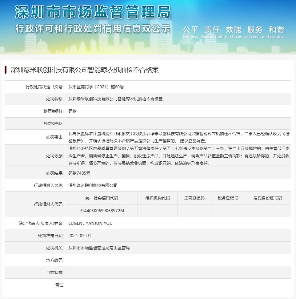 绿米联创科技产品抽检不合格被罚7485元 深圳市场监管部门建议立案调查