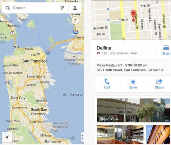 iOS版谷歌地图截图   北京时间12月13日消息,谷歌刚刚发布iOS版谷歌地图应用,支持iPhone、iPad和iPod touch。   iOS版谷歌地图加入了街景模式和逐向导航功能。目前,这款软件已在中国和美国的App Store中上线。   谷歌地图之前一直预装在苹果iPhone和iPad中。但在今年9月升级iOS 6时,苹果用自家的地图服务取代了谷歌地图。然而,由于精度不够和数据缺乏,这一软件引发了很多用户的不满和抨击。   苹果之所以取消与谷歌地图的合作,最大原因在于谷歌拒绝提供语音导航
